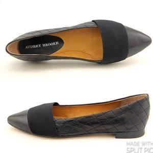 Audrey Brooke Lisa Quilted Leather Black Flats